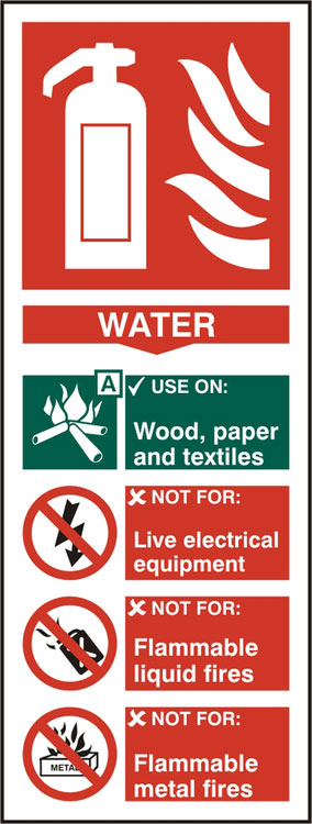 FIRE EXTINGUISHER WATER SIGN - BSS12308