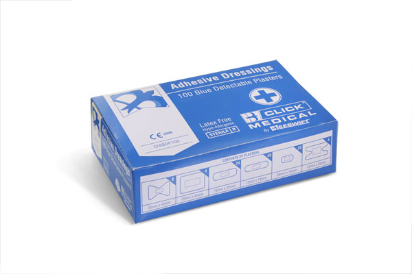 PLASTERS BLUE METAL DETECTABLE 100 ASSORTED - CM0507