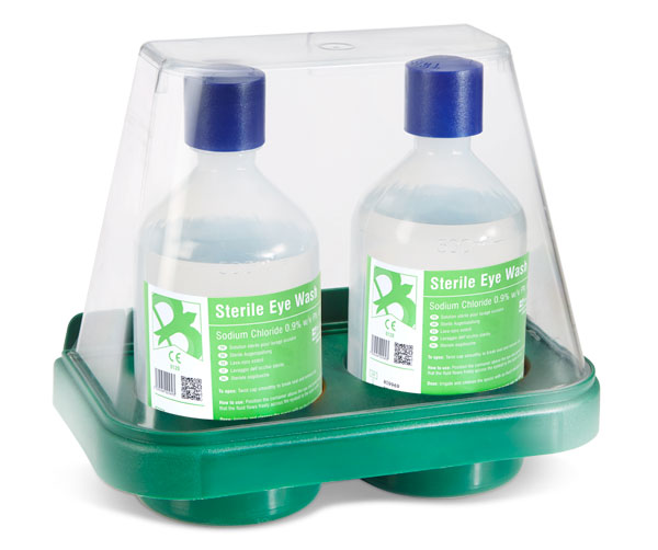 2 X EYEWASH BOTTLES WITH DOUBLE WALL MOUNT STAND - CM0702