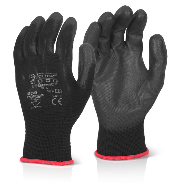 PU COATED GLOVE BLACK - EC9NBL