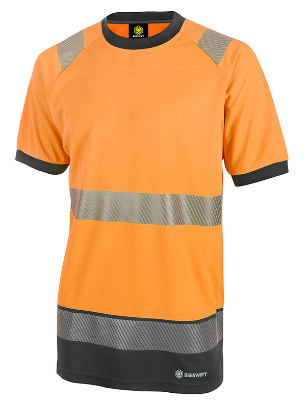 HIVIS TWO TONE SHORT SLEEVE T SHIRT - HVTT001ORBL