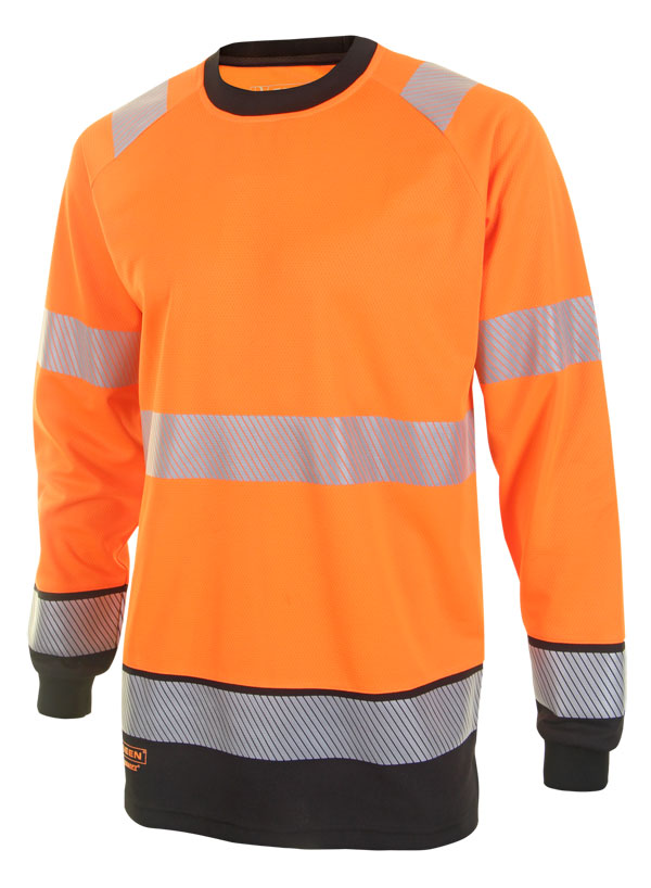 HIVIS TWO TONE LONG SLEEVE T SHIRT - HVTT005ORBL